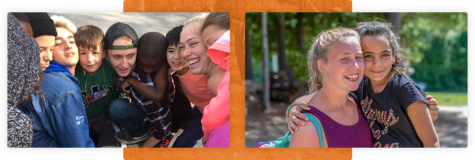 Two photographs side by side; on the left a group of campers and leaders pose smiling for a photograph. On the Right two young girls pose hugging and smiling.