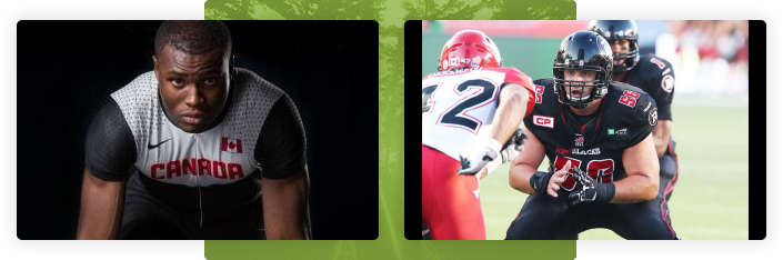 Two photos side by side, left side is Segun Makinde - Olympic Track and Field Athlete in the starting position wearing a Canadian uniform. Right side is a in game photograph of Alex Mateas - Offensive Lineman for the Ottawa RedBlacks
