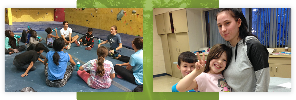 Two photographs side by side; Left side is a group of kids sitting around an instructor on mats near a climbing wall. On the right two your children stand near an instructor smiling for the camera.