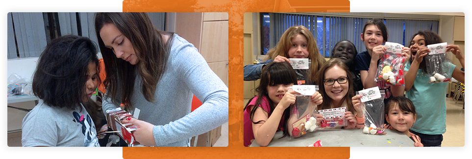 Two photographs side by side; Left side an instructor is showing a young girl how to do something with a milk carton. Right side a group of children are holding up bags with treats in them smiling and making faces for the camera.